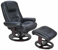 Barcalounger Jacque II Leather Recliner And Ottoman Black Recliners