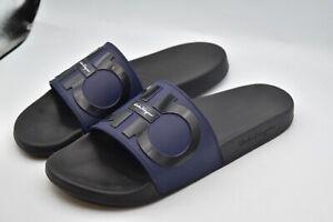 Ferragamo Italy Flip Flops Sandals Purple Black Shoes MEN'S SZ 10 M