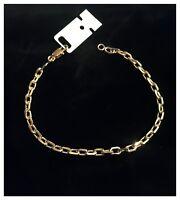 Bracelet Maille forçat 19CM Plaqué Or 18 carats 750/1000 Bijoux Femme