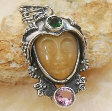 Hand inlaid carved face Aventurine & topaz gemstone silver pendant Jewelry BP85