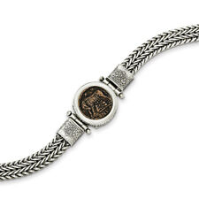 Sterling Silver Antiqued Roman Bronze Urbs Roma Coin Bracelet