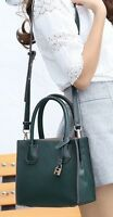 Faux Leather Tote Satchel Top Handle Handbag with Padlock Black or Green