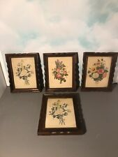 """4 Antique Victorian Carved Wood Frames With Botanical Prints 9.5x7.5"""""""