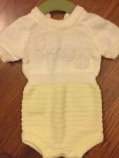 Vintage Baby Knit Onesie / One Piece Sweater Yellow Cream 0-3 Month or NB