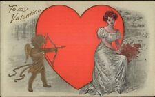 Lounsbury Valentine - Golden Cupid Aims Arrow at Beautiful Woman Postcard