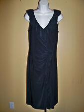 LAUREN RALPH LAUREN BLACK STRETCH BODY CON V-NECK RUFFLED FRONT DRESS 8 NWT WOW