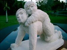 AUSTIN PROD 1989 DEE CROWLEY SCULPTURE STATUE BRIGHT EYES BOY HUG MAN WITH BASE