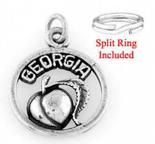 STERLING SILVER SWEET GEORGIA PEACH CHARM WITH ONE SPLIT RING