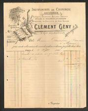 "PARIS (I°) INSTRUMENTS de CHIRURGIE & ORTHOPEDIE ""Clément GENY"" en 1898"