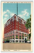 Mid-1900s Hotel Hickory and WHKY Radio Tower, Hickory, NC Postcard