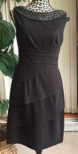 Connected Apparel Dress Tiered Sheath Dark Beaded Neck Black Sz 6 (I465)