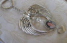 Memorial Angel Wing Dad Bag Charm/Keyring/Keychain Made With  Swarovski Crystal,