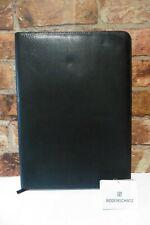 BODENSCHATZ BLACK LEATHER LARGE A4 PORTFOLIO ORGANISER ZIP AROUND NEW Z50