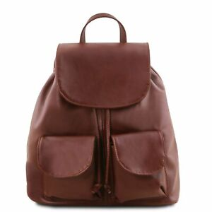 Tuscany Leather 'SEOUL' Italian Leather Large Backpack in Brown RRP £128