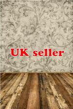 POSH GREY BEIGE FLORAL WOOD FLOOR KIDS VINYL BACKDROP PHOTO PROP 5X7FT 150x220