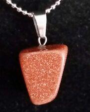 Semi Precious Stone Pendant Necklace Jewellery Sparkly Gold Sand Stone