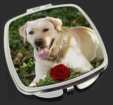 Yellow Labrador with Red Rose Make-Up Compact Mirror Stocking Filler , AD-L48RCM