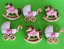 Baby Girl HORSE & BUGGY - Pram Pushchair Rocking Pink Dress It Up Craft Buttons