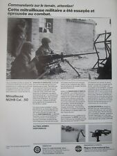 5/1985 PUB SACO MITRAILLEUSE MACHINEGUN M2HB CAL 50 MM US ARMY FRENCH AD