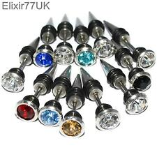 UNISEX STAINLESS STEEL SPIKE EAR STUD EARRINGS FAKE PLUG PUNK ROCK GOTHIC EMO UK