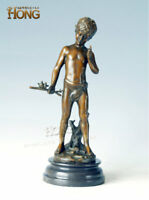 "14"" Art Deco Sculpture The Boy Playing With Birds Tree Branch Bronze Statue"
