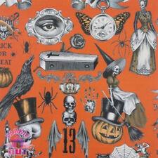 Alexander Henry Trickery Orange Halloween Skull Gothic Fabric