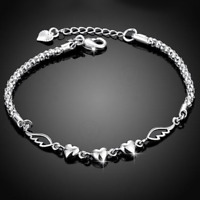 925 Silver Plated Women Heart Angel Wing Bangle Chain Bracelet Wedding Jewelry