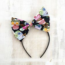 Black with multi colour sugar skull Bow Headband Rockabilly - Day Of The Dead