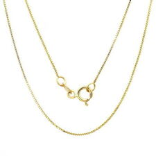 10K Yellow Gold Box Style Chain Necklace 18 inches