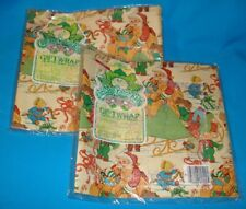 Vintage Cabbage Patch Kids Christmas Gift Wrap 8.3 Sq Ft New Old Stock Lot Of 2