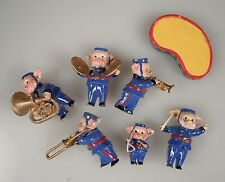 Cold Painted Bronze 7pc PIG Musical Band Figurines