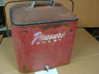 Vintage Pleasure Chest Metal Galvanized Cooler Good Condition