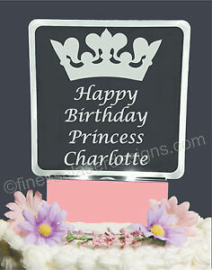 Happy Birthday Princess Personalized Lighted Cake Topper Acrylic LED light up