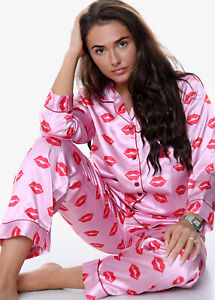 New Womens Lips Print SATIN PJ Set Button Up Ladies Pyjamas Set Size 6-16 UK