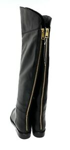Joie Bailey Boots 35.5 5.5 Black Leather Over The Knee Back Zipper New