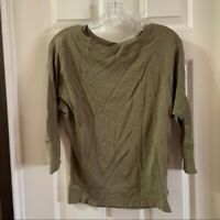 Cynthia Rowley Women's Green Scoop Neck 3/4 Sleeve Tee S