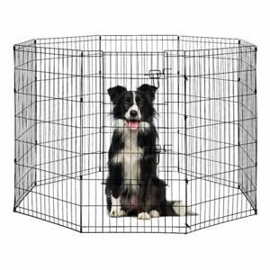 """SALE! 48"""" Outdoor Indoor Pet Dog Playpen Exercise Fence Cage Kennel Door 8 Panel"""