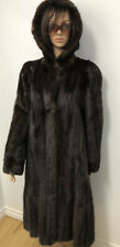 BROWN HOODED MINK FUR COAT LONG Sz.L