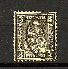 Switzerland 1862 3c Black Sitting Helvetia sg53 cv£170 FU Stamp