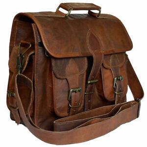 """New 18"""" Men's Distressed Vintage Leather Satchel Messenger Laptop Briefcase Bag"""