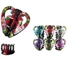 6pcs Women Heart Hair Claw Flower Hand Printed Jaw Clip Clamp Comb Lot 2.5""