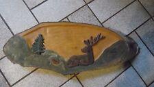 Bild  geschnitzt Handarbeit Motiv Hirsch  aus Holz Birkenscheibe