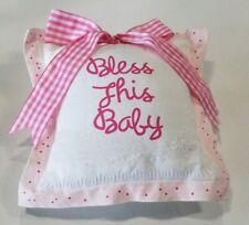 Baby gift baby shower Baby Pillow pink white bow Bless this baby new