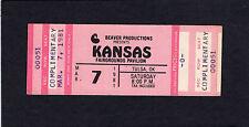 1981 Kansas Unused Full Concert Ticket Tulsa OK Audio Visions Dust In The Wind