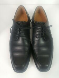 Ecco Mens Size 44 Genuine Leather Windsor Lace Black Shoes