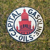 """VINTAGE CAPITAL GASOLINE OILS 12"""" PORCELAIN METAL GAS & OIL PUMP PUSH AD SIGN!"""