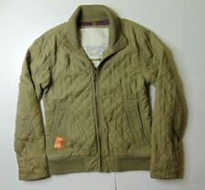 SuperDry Japan Men L Condor Quited Bomber Jacket Full Zip Lined Green Outerwear