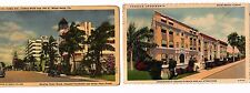 Miami Florida Art Deco architecture Lot of 2 Linen Postcards 1940's