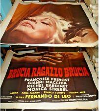 BRUCIA RAGAZZO BRUCIA manifesto 4F originale 1969 PREVOST MACCHIA DI LEO