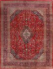 Vintage Floral Traditional Red/Navy Area Rug Hand-Knotted Oriental Carpet 10x13